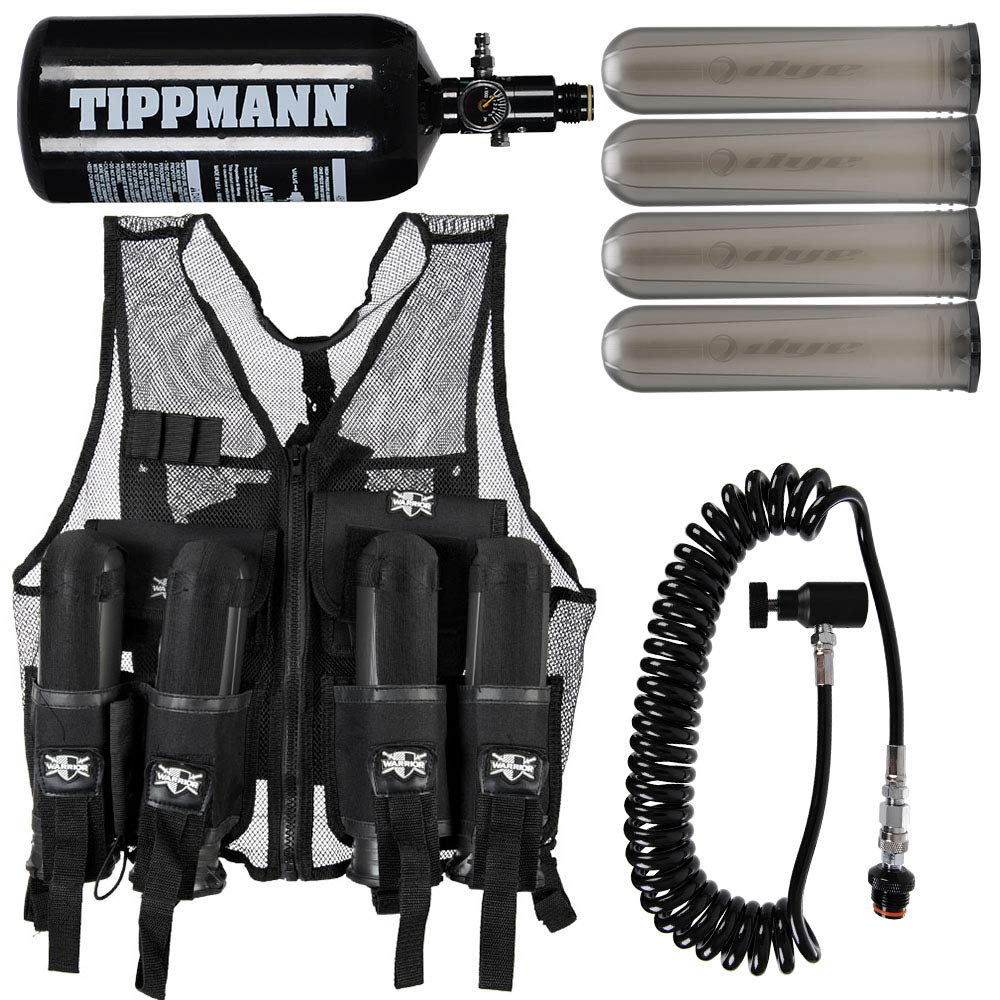 Action Village Tactical Warrior Paintball Vest - Adjustable Light Weight Version Holds 4 Pods & 1 Tank (Vest with Remote, Tippmann 48/3000 Tank & 4 Smoke Dye Pods) by Action Village