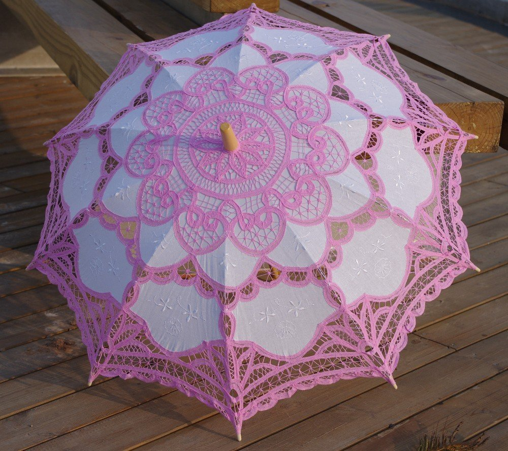 Worldoor®Brand New Pink Lace Parasol Victorian Battenburg Sun Umbrella for Bridal Party Wedding Decoration