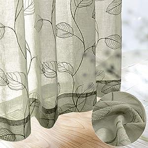 Sheer Curtains for Bedroom Rod Pocket Embroidered Leaf Window Curtains 95 inch Length Botanical Geometric Drapes Living Room 2 Panels Sage