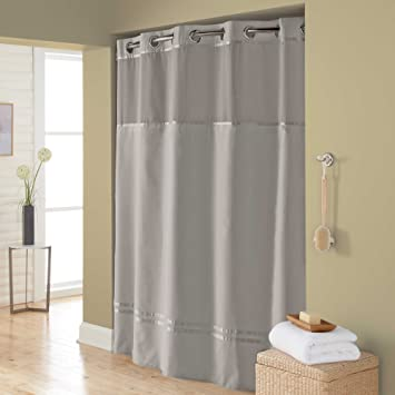 71 Inch X 74 Inch Fabric Shower Curtain And Shower Curtain Liner Set,