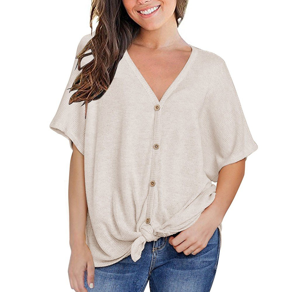 Womens Waffle Knit Tunic Tops Tie Knot Henley Loose Blouse Fitting Plain Shirts