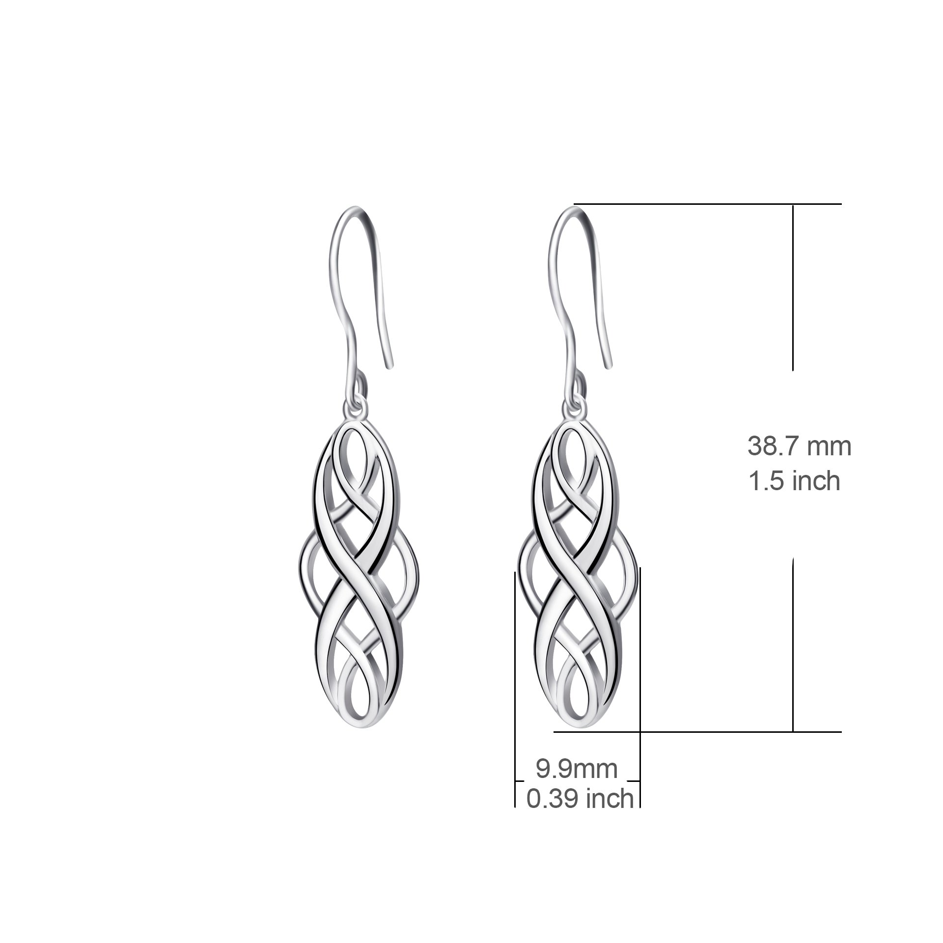 S925 Silver Earrings Solid Sterling Silver Polished Good Luck Irish Celtic Knot Vintage Dangles (Platinum) by Angel caller (Image #3)