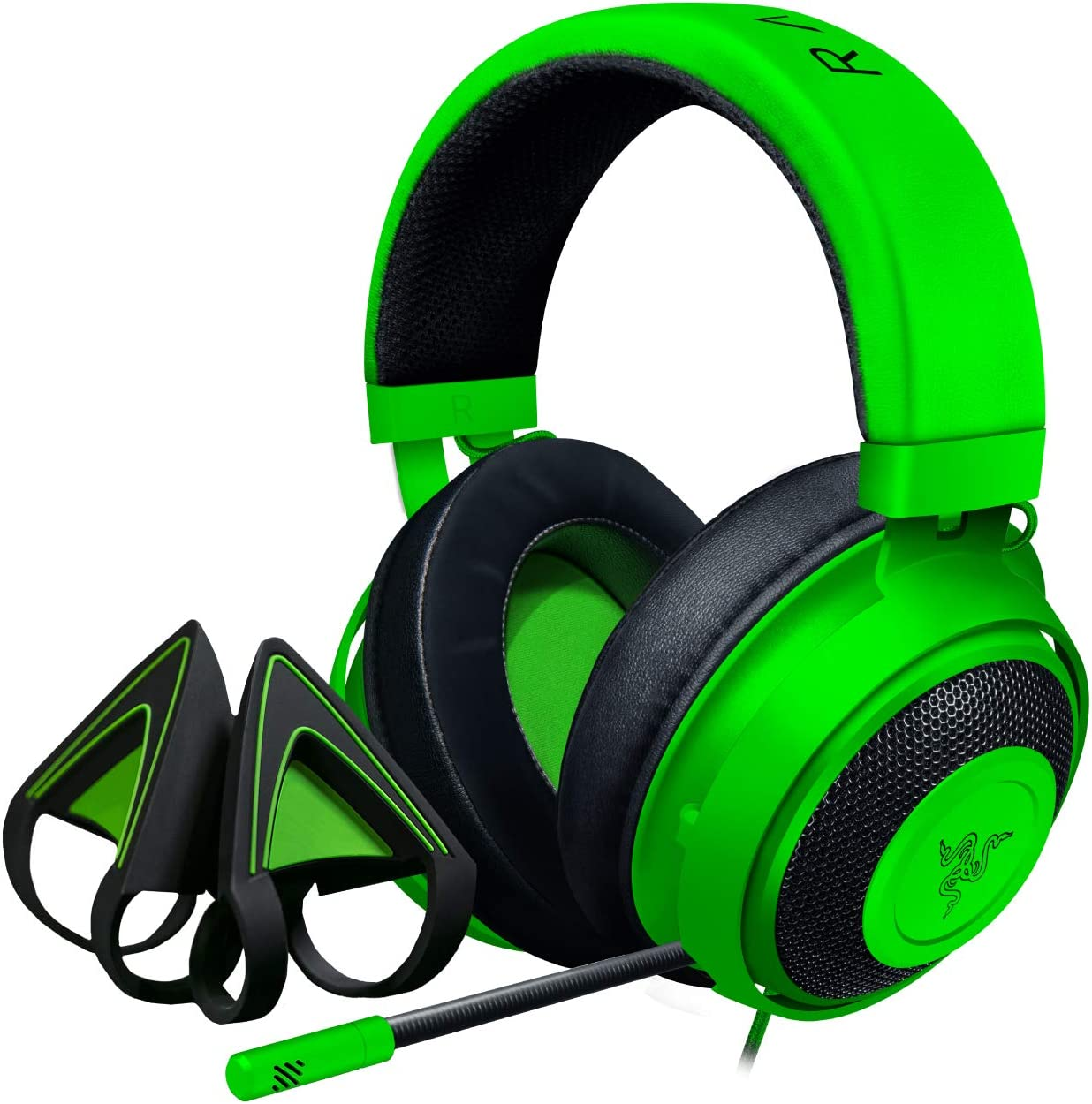 Razer Kraken Gaming Headset + Kitty Ears Bundle: Lightweight Aluminum Frame - Retractable Noise Cancelling Mic - for PC, PS4, Nintendo Switch - Green