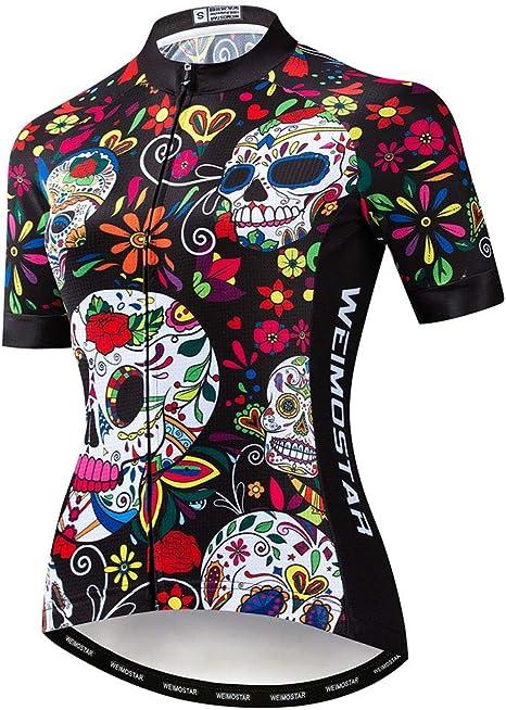 HAOHOAWU Jerseys De Ciclismo para Mujeres, Camisetas De Ciclismo De Montaña Camisas De Manga Corta Ropa De Bicicleta MTB Tops Ropa De Verano Transpirable,Skull,XL: Amazon.es: Deportes y aire libre