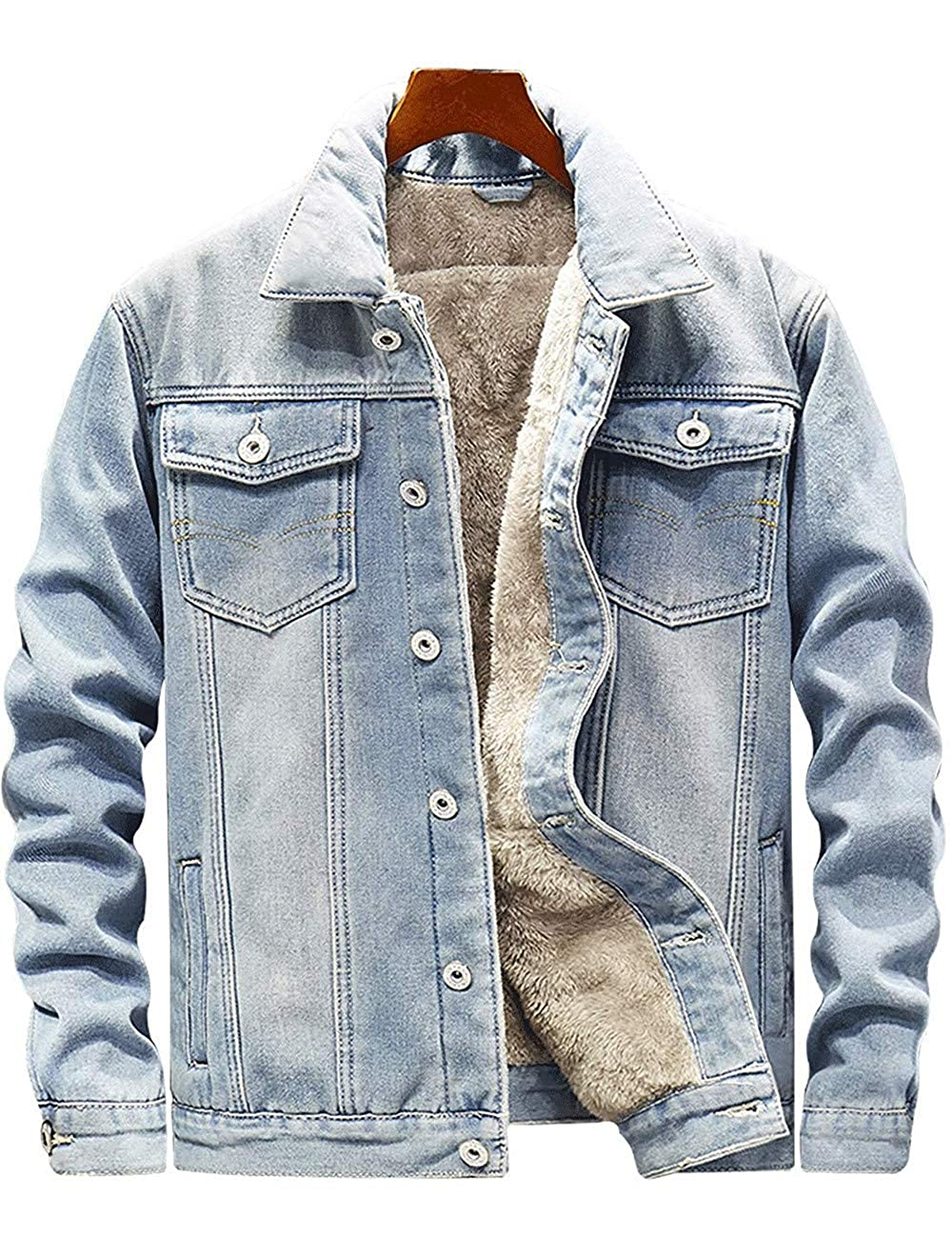 e74b7c936a37 Lightblueee Zhdyhgsd Men's Loose Loose Loose Button Down Fleece Lined Thick  Denim Jean Trucker Jacket d50680