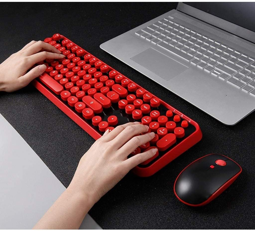 Keyboard Mouse Home Electronic Office Computer Notebook Round Key Wireless Mini Lightweight Portable Desktop Computer Set Color : Red