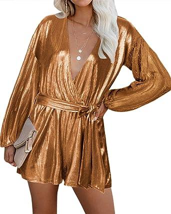YOINS Vestido Fiesta Mujer Largo Mono Camisa Brillante Vestido Lentejuelas Mujer Casual Cuello En V Jumpsuit Elegante: Amazon.es: Ropa y accesorios