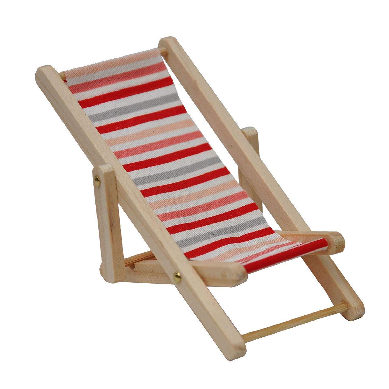 Melody Jane Puppenhaus Miniatur Holz Rosa und Rot Streifen Klappbarer Liegestuhl