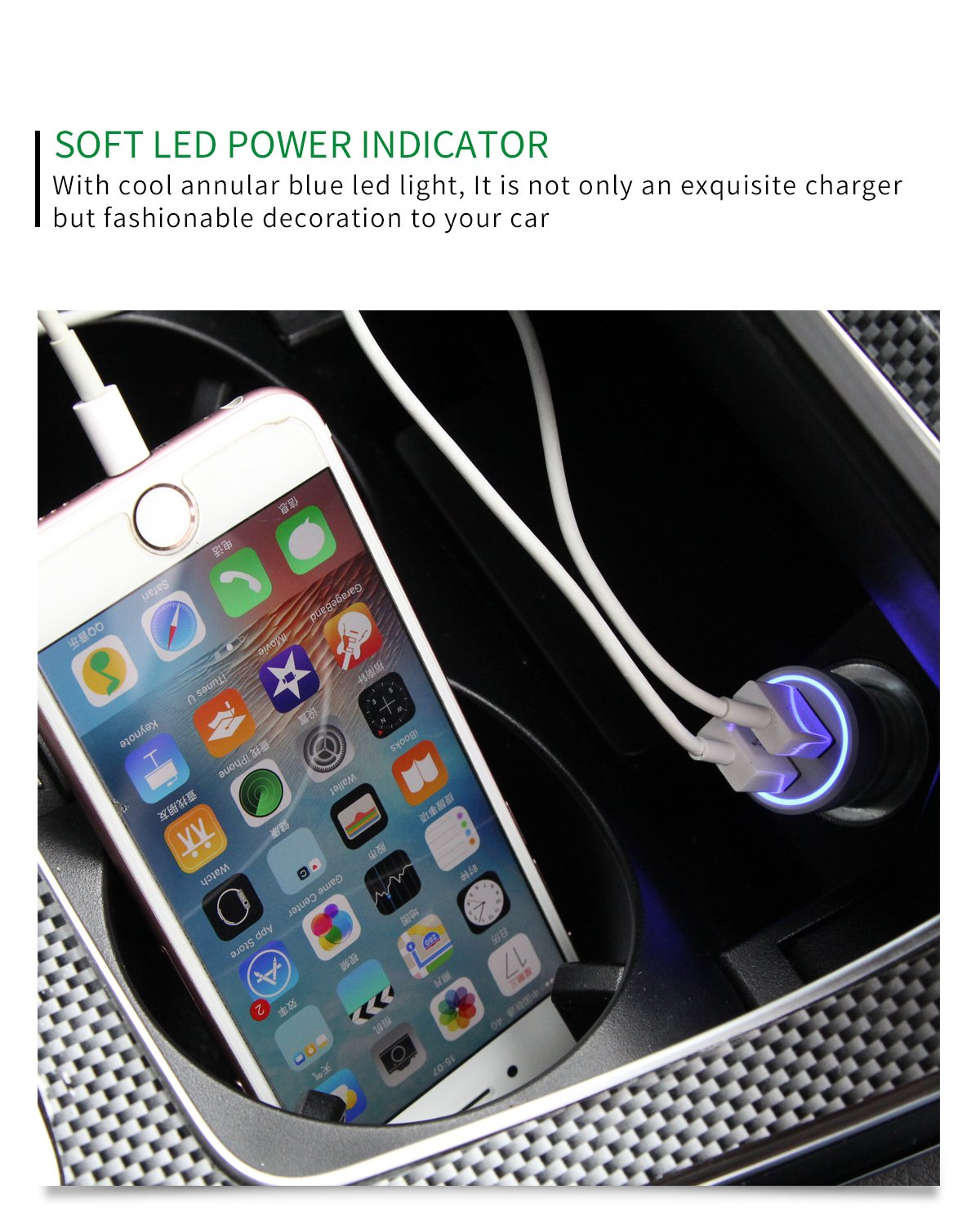 BULL Dual USB Car Charger with Lightning Cable 3.6A//18W Brass Made Safe and Fast Car Phone Charger with Charging Cable Apple MFi Certified Compatible with iPhone, iPad Compatible with iPhone/, iPad CB-U118CK02C
