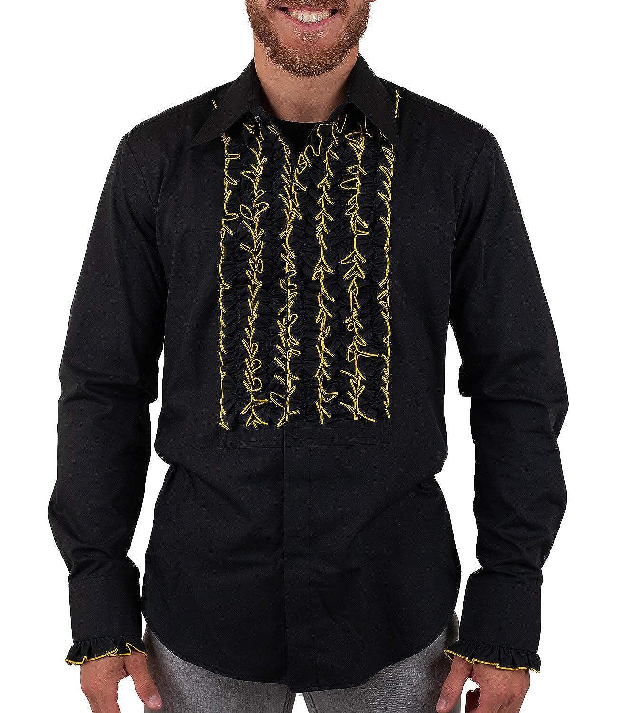 Chenaski Schwarzes Hemd mit Goldfarben umrandeten Rüschen