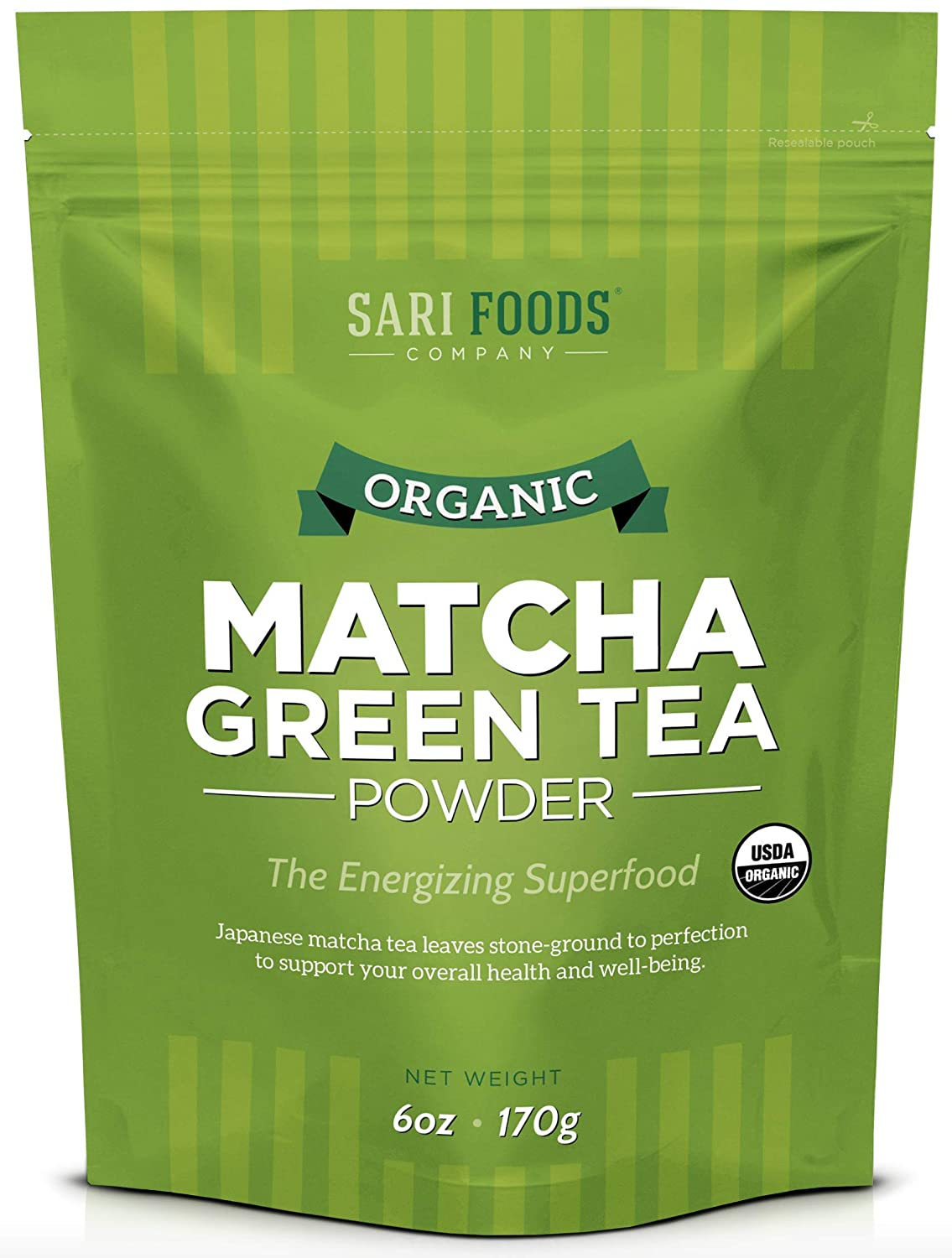 Organic Japanese Matcha Green Tea Powder:6 Ounce. Natural Plant Based Superfood:Increase Energy, Focus & Metabolism, Fight Aging, Burn Fat & Relieve Stress With Antioxidants, Polyphenols & Amino Acids