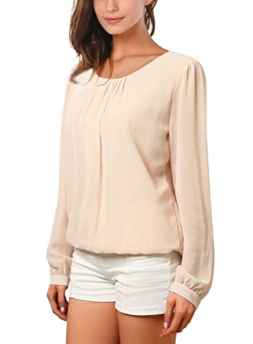 WAJAT - Camiseta Blusa para Mujer de Chifon Beige Small