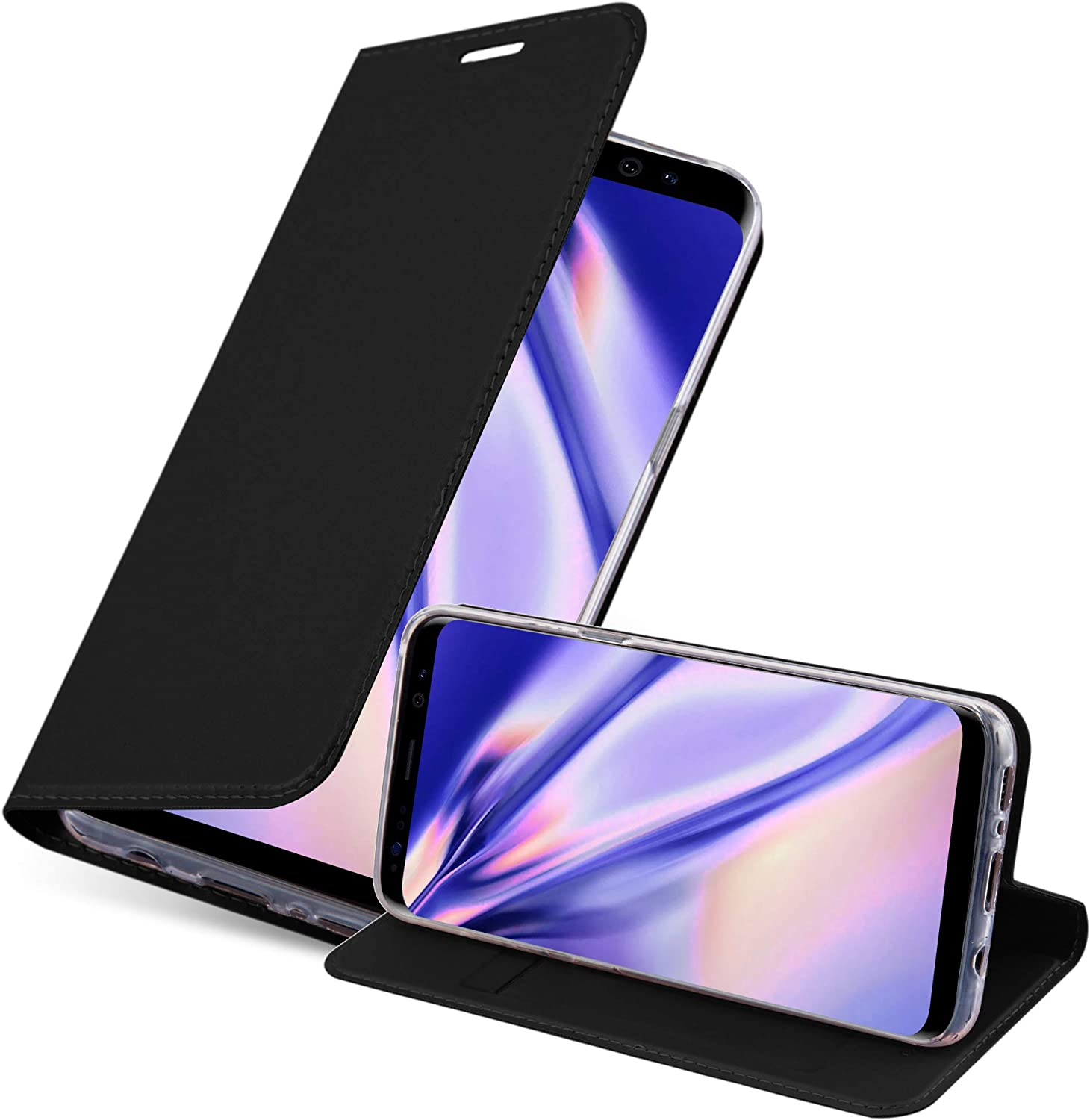 Cadorabo Book Case Works with Samsung Galaxy S8 Plus in Classy Black – with Magnetic Closure, Stand Function and Card Slot – Wallet Etui Cover Pouch PU Leather Flip