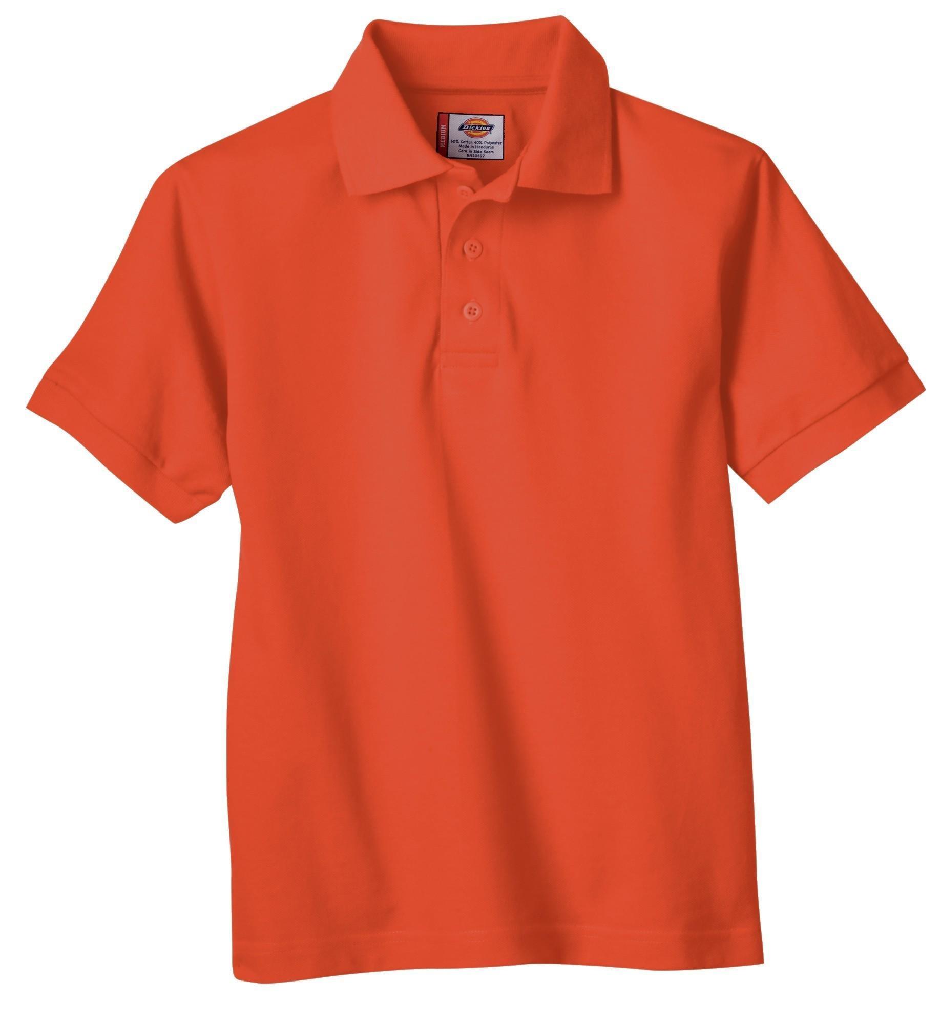 Dickies Big Boys' Short Sleeve Pique Polo Shirt, Orange, Medium
