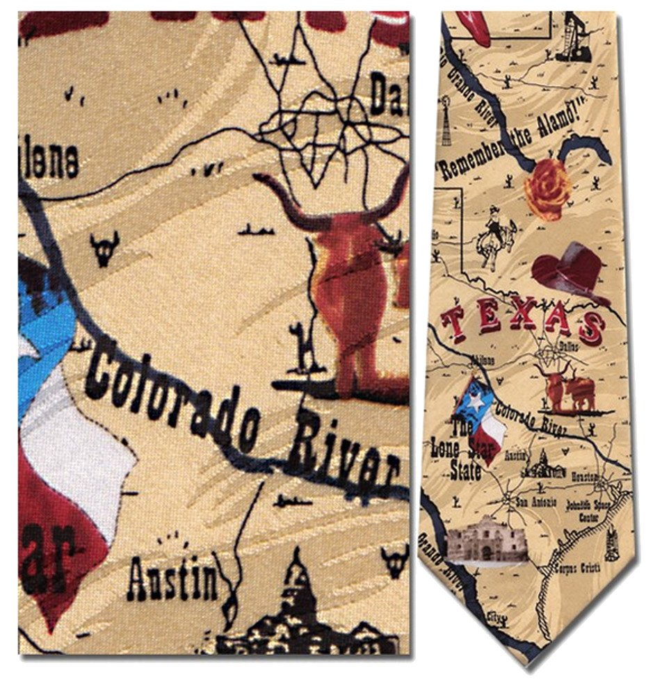 Men's 100% Silk Beige All Things Texas Sites & Map Tie Necktie