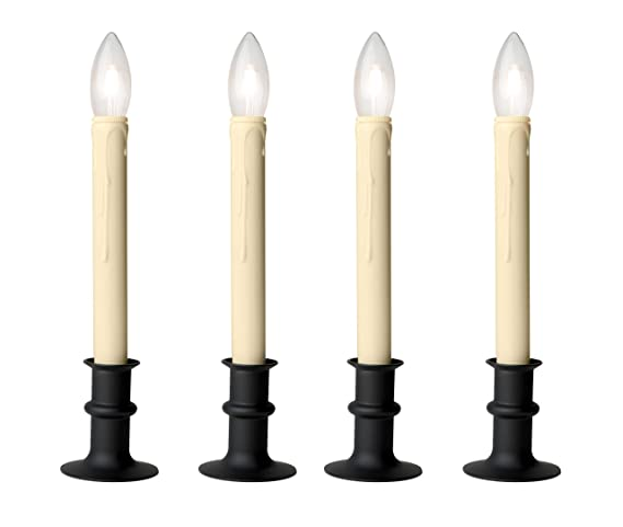 buy online 9cb75 10235 Celestial Lights Set of Four Adjustable Height Battery Operated LED Window  Candles with Daily Timer Ivory Candle Stick. (Black Oynx)