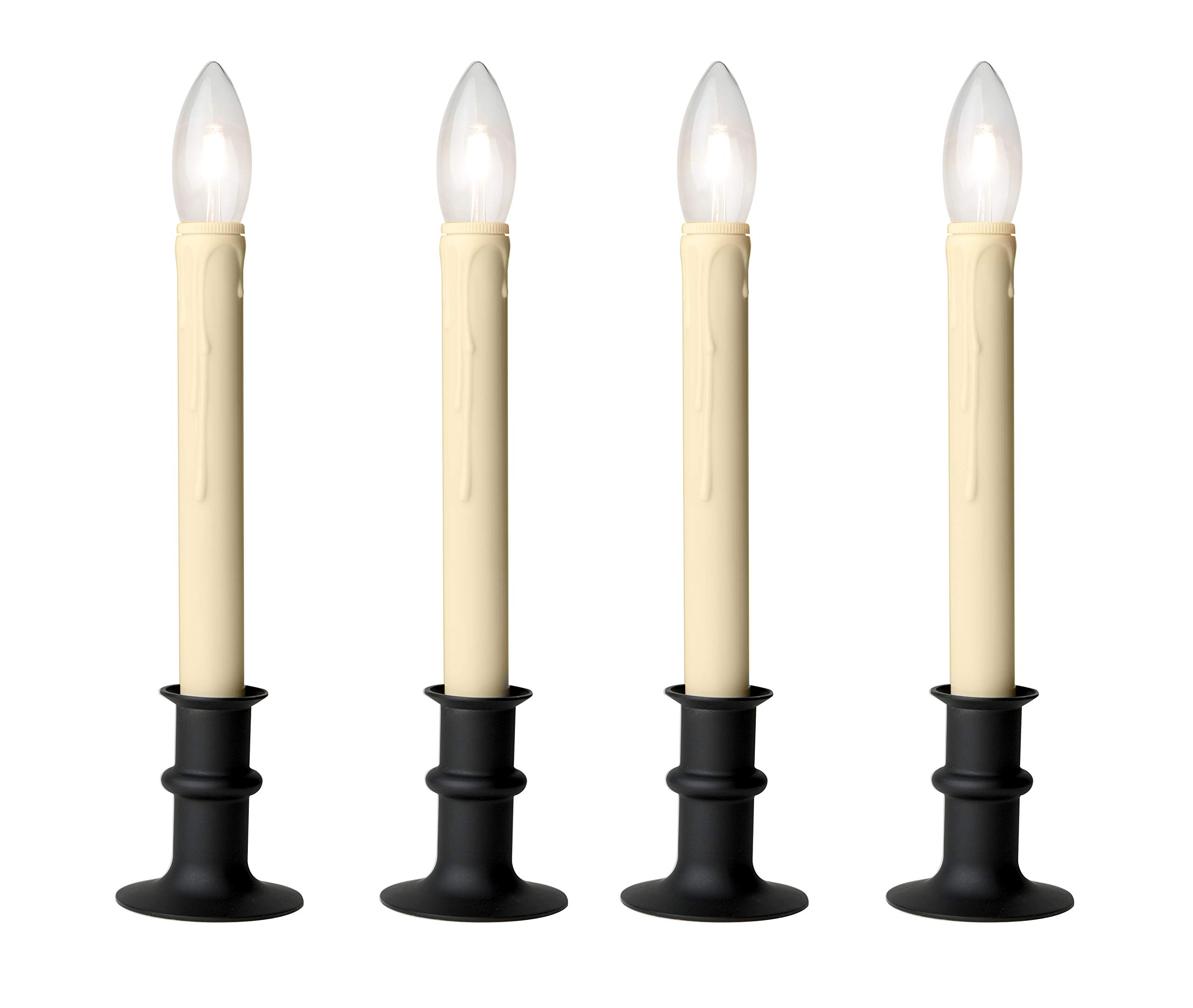 Set of Four Adjustable Height Battery Operated LED Window Candles with Daily Timer Ivory Candle Stick. (Black Oynx)