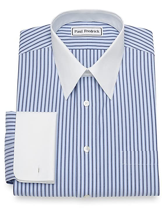 1920s Style Mens Shirts | Peaky Blinders Shirts and Collars Paul Fredrick Mens Non-Iron Cotton Stripe French Cuff Dress Shirt $35.98 AT vintagedancer.com