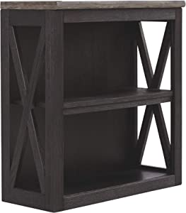 Ashley Furniture Signature Design - Tyler Creek Medium Bookcase - Casual - 2 Shelves - Adjustable Center Shelf - Grayish Brown/Black Finish