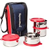 Signoraware Executive Max Fresh Stainless Steel Lunch Box Set, Set of 4, Red