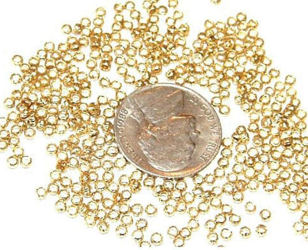 Ideal for Round 2mm Cord High Quality Gold Plated over Brass Round Crimping Beads - 25 pcs Nickel /& Lead Free Crimp Bead \u00d82.7mm 4x2.5mm