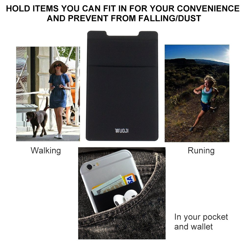 [2pc]RFID Blocking Phone Card Wallet - Double Secure Pocket - Ultra-slim Self Adhesive Credit Card Holder Card Sleeves Phone wallet sticker For All Smartphones(Black2) by WuoJI (Image #9)