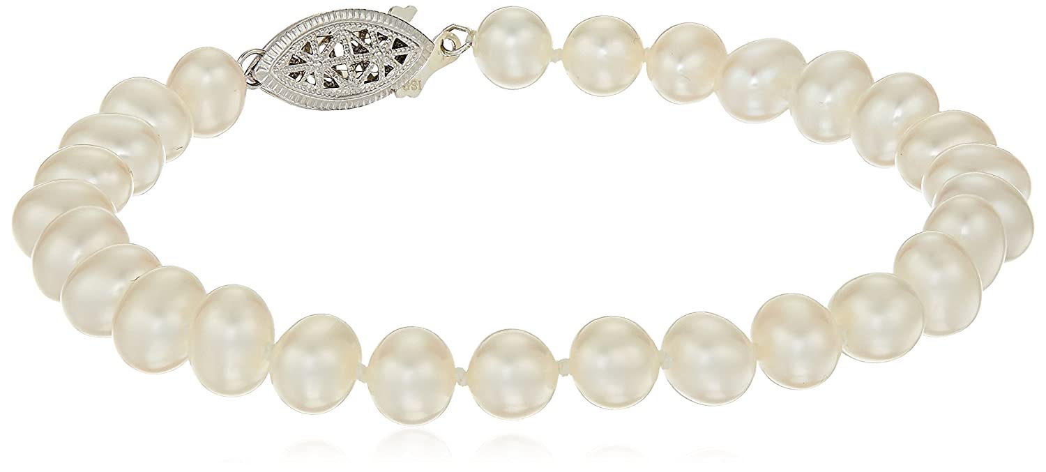 Sterling Silver White Freshwater Cultured Pearl A Grade 7.5-8mm Bracelet 25 Amazon Collection FWB7580AW-7.25