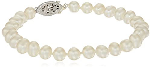 Sterling Silver White Freshwater Cultured A Quality Pearl Bracelet 7.5-8mm , 8