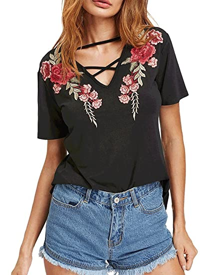5db025aa Locryz Women's Sexy Criss Cross Front V Neck T-Shirts Tops Casual Short  Sleeve Tee Shirt at Amazon Women's Clothing store:
