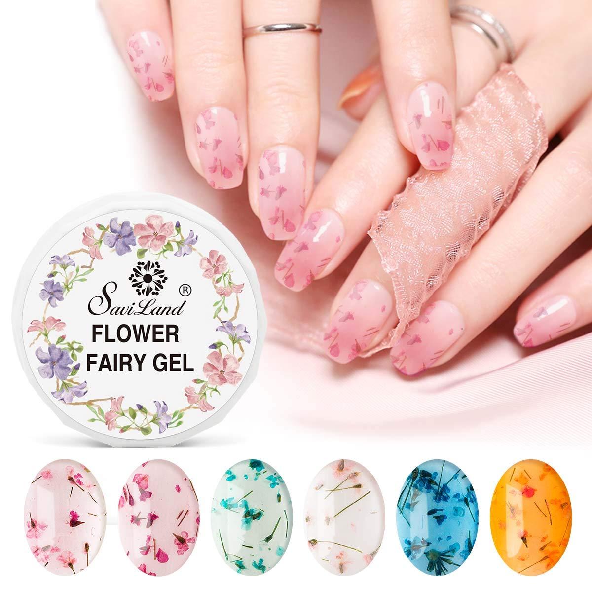 Dried Flower Gel Nail Polish, Saviland 6 Colors Soak Off UV LED Nail Varnish Decoration Manicure Nail Art Design Kit (Pink Green Yellow)