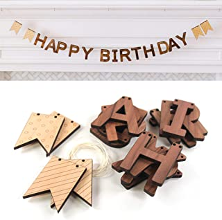 product image for Smiling Tree Toys Natural Organic Wood Happy Birthday Bunting Banner, Great for Kids, Toddler Birthday Parties