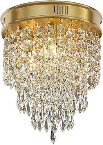 Cheap Crystal Chandelier,3 Lights Modern Copper Flush Mount Chandelier Crystal Ceiling Light dining room chandelier for sale