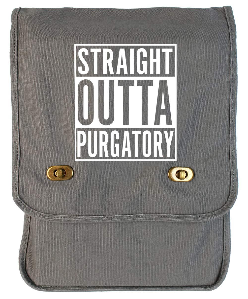 Tenacitee Straight Outta Purgatory Grey Brushed Canvas Messenger Bag