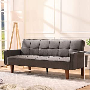 eaglwww Futon Sofa Bed, Linen Convertible Sofa Couch 3 Seater 75