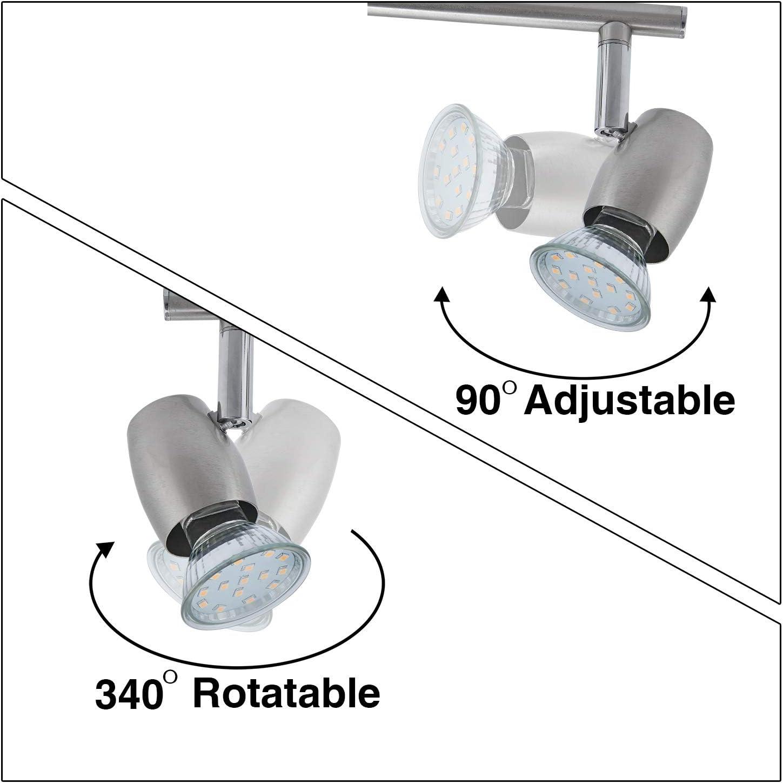 LED Deckenspot f/ür K/üche Wohnzimmer Schlafzimmer LED Deckenleuchte Schwenkbar inkl 6-flammig Drehbar und 3W GU10 230V IP20 metall Warmwei/ß Energieklasse A+