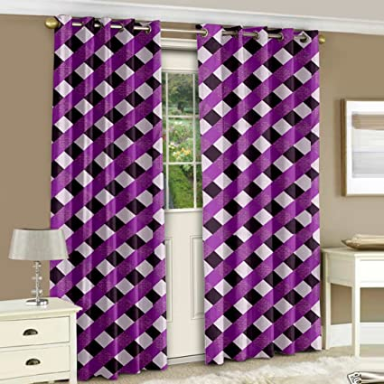 Story@Home Nature Eyelet 2 Pieces Checks Basic Polyester Door Curtains, 7 ft, Purple Curtains at amazon
