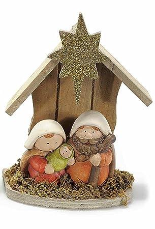 4fb3ffea341 Art from Italy Decoración Navidad Belén de madera con figuras de cerámica   Amazon.es  Hogar