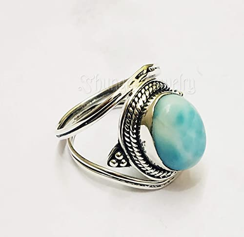 Silver Larimar Ring* handmade ring* blue silver ring* minimalist ring* larimar ring* silver statement ring* oval shape ring* gift for women*