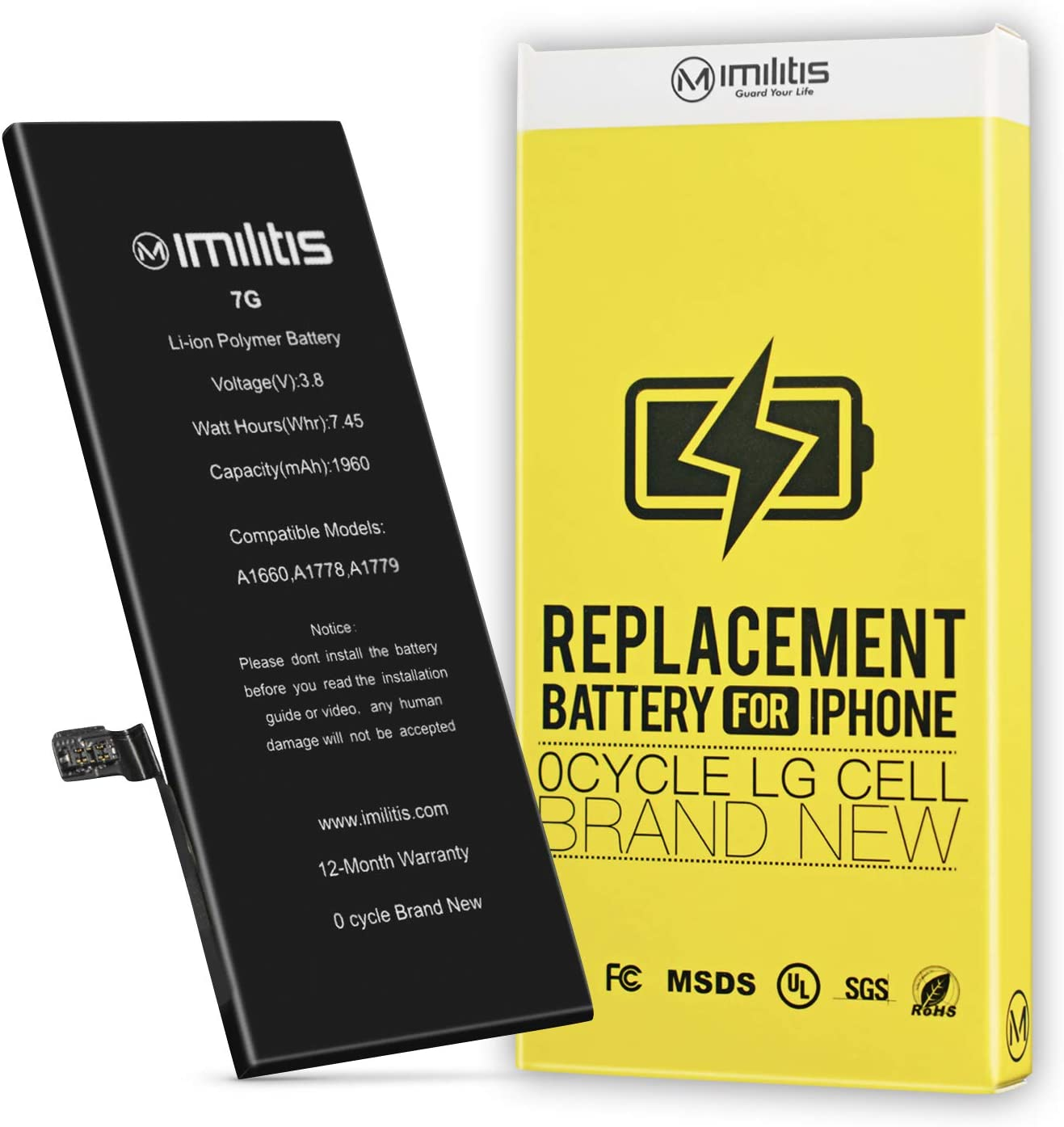 IMILITIS Compatible Battery Replacement for iPhone 7(No Tools), High Capacity 1960mAh 0 Cycle Li-ion Battery – Instruction and Adhesive Included – 18 Months Warranty