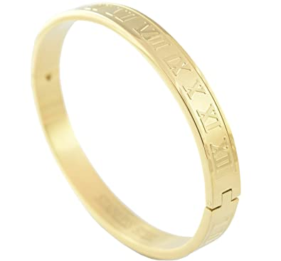 03abbb055f2 Amazon.com: Flyingeagle Trade Roman Numeral Stainless Steel Bangle Bracelet  Men Women Unisex (Gold): Jewelry