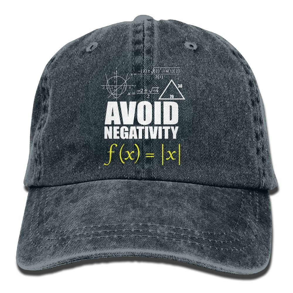 Funny Avoid Negativity Plain Adjustable Cowboy Cap Denim Hat for Women and Men