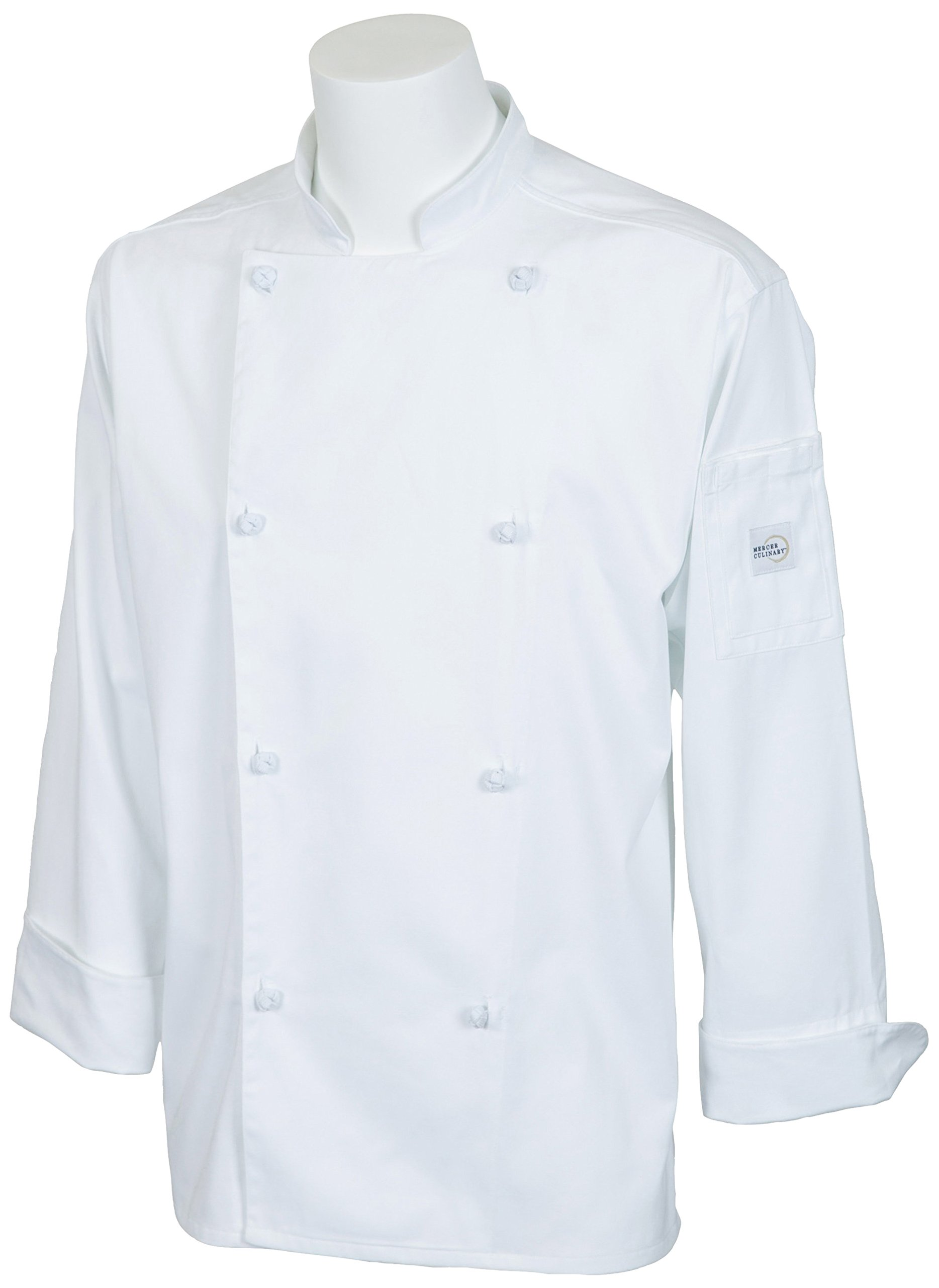 Mercer Culinary M61020WHXS Genesis Men's Jacket with Cloth Knot Buttons, X-Small, White