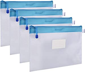 Zipper File Bag, Wisdompro 4 Packs Letter Size Receipt Organizer Paper Document Storage Zipper Pouch Holder with Label Pocket for Office Documents, Business Receipts, School Supplies, College - Blue