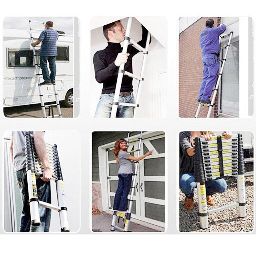 /Tragbare faltbare 13/Stufen f/ür Home Loft Office Max Belastbarkeit 330lbs qitao Teleskopleiter 12.5tf//Teleskopleiter 3,8/m Mehrzweck-Aluminium DIY ausziehbar Extend/