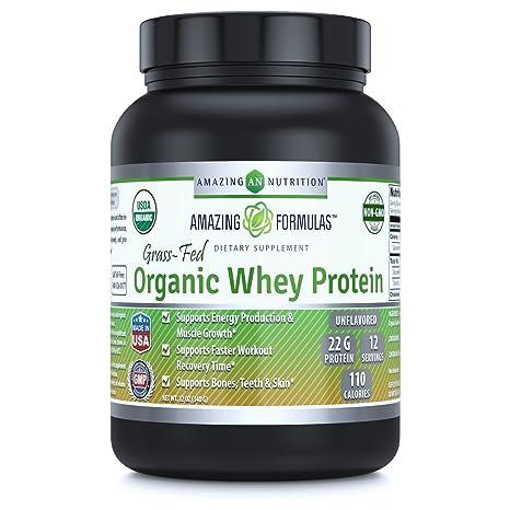 Amazing Formulas Organic Whey Protein Powder-12 Oz (340 Gm) -USDA Certified