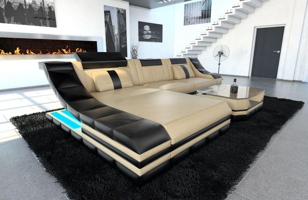 Sofá Turino cuero en forma de l sandbeige-schwarz de piel LUZ LED