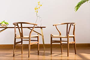 Porthos Home Qirin Wood Dining Chair With Comfortable Hand-knitted Kraft Paper Rope Seat And Sturdy Beech Wood Wishbone Legs And Back