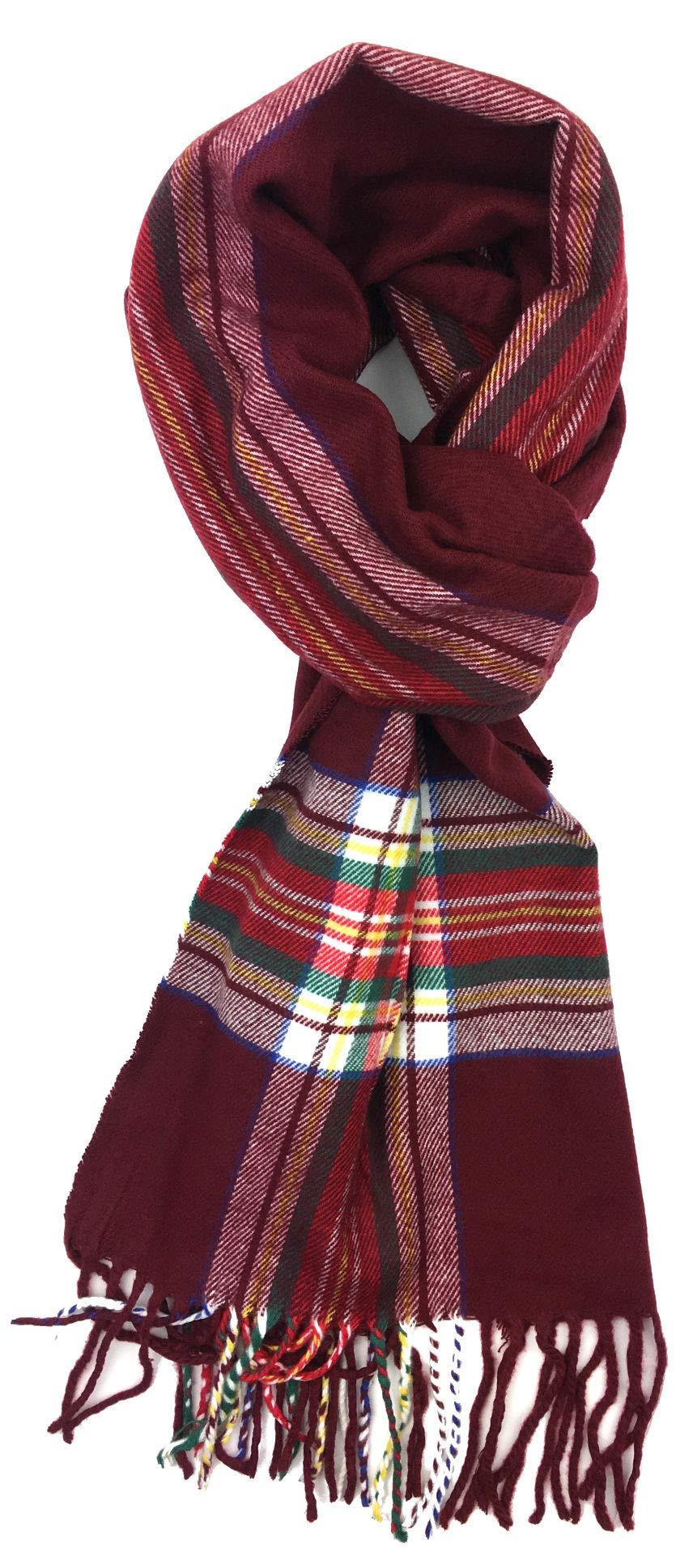 Plum Feathers Super Soft Luxurious Cashmere Feel Winter Scarf (Burgundy Tartan)