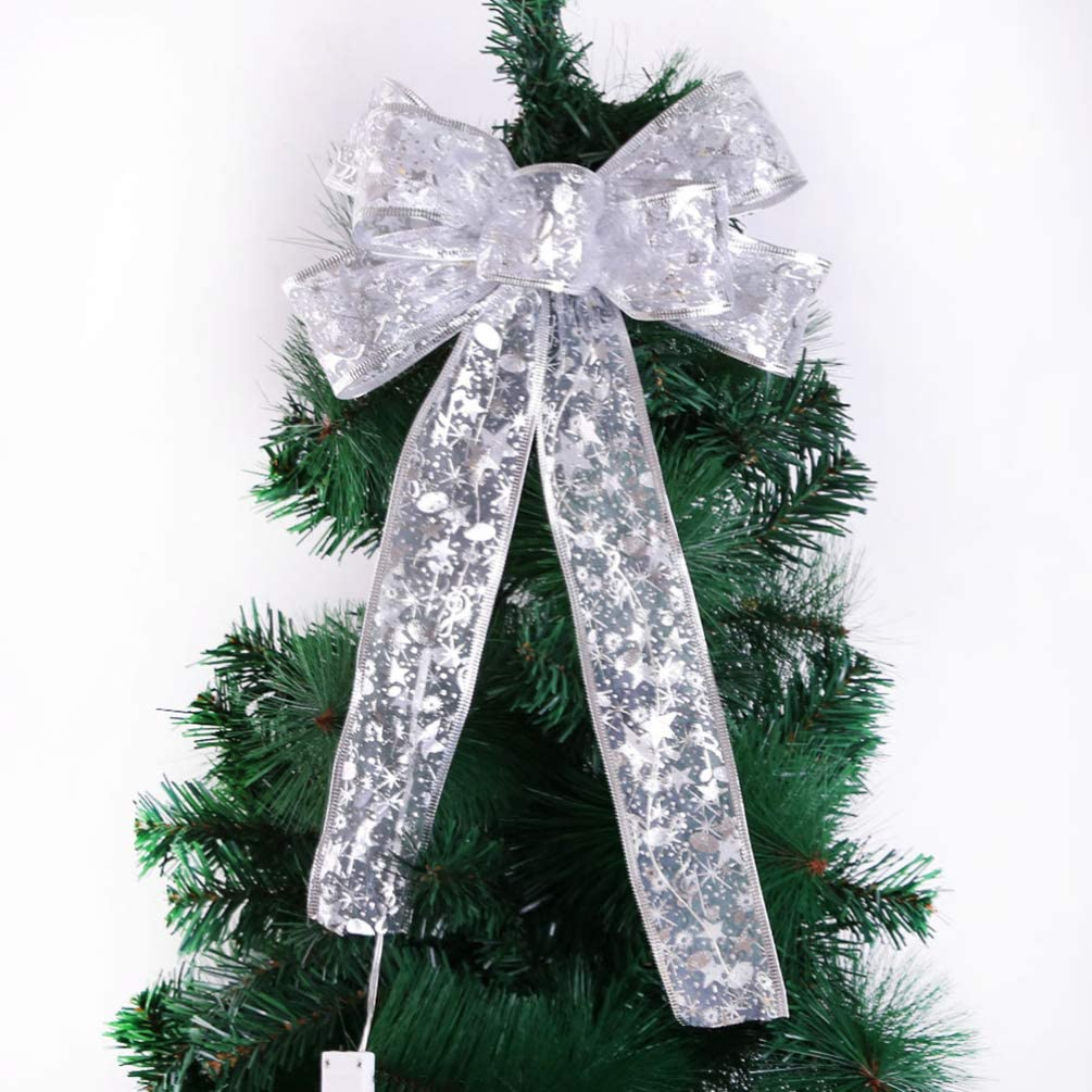 1pc Silver LED Tree Top Topper Ribbon Bow Light Up Bow Xmas Hanging Decoration