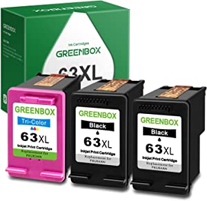 GREENBOX Remanufactured Ink Cartridge Replacement for HP 63XL 63 XL Used in HP OfficeJet 3830 5255 5258 Envy 4520 4512 4513 4516 DeskJet 1112 1110 3630 3634 2130 2132 Printer (2 Black 1 Tri-Color)